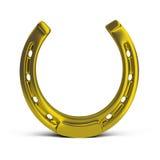 Horseshoe. Golden horseshoe. 3d image. White background stock illustration