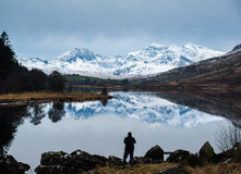 Horseshoe. Of Mount Snowdon, highest mountain in England and Wales, reflected in the lake called Llynnau Mymbyr stock photos