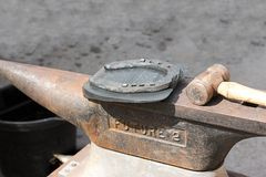 Horseshoe on the anvil. Royalty Free Stock Images