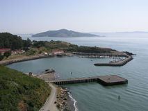 Horseshoe Bay. & Fort Baker from the Golden Gate Bridge, Marin County, California royalty free stock images