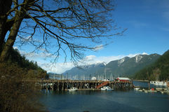 Horseshoe bay. Winter scene with mountain background Stock Images