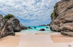 Horseshoe Bay in Bermuda. Landscape of Ocean, rock and beach in Horseshoe Bay, Southampton Parish, Bermuda Royalty Free Stock Image