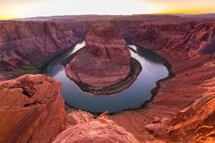 Horseshoe Bend, Arizona, perspective scenery in autumn Royalty Free Stock Images
