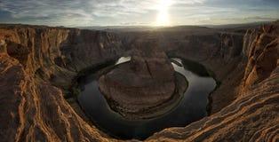 Horseshoe Bend, Arizona. Wide angle Panorama of Horseshoe Bend Canyon, Arizona at Sunset Royalty Free Stock Image