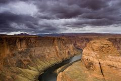 Horseshoe bend on the Colorado River. South of Page, Arizona, Lake Powell area Royalty Free Stock Image