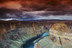 Horseshoe bend on the Colorado River. South of Page, Arizona, Lake Powell area Stock Image