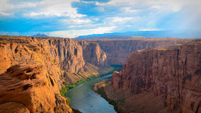 Horseshoe bend. In the evening with clouds and sunset Royalty Free Stock Photography