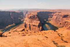 Horseshoe Bend is a famous meander on river Colorado. Near the town of Page in Arizona, USA Royalty Free Stock Images
