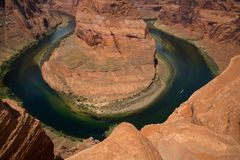 Horseshoe bend in Arizona in United States. Horseshoe Bend is a horseshoe-shaped incised meander of the Colorado River located near the town of Page, Arizona, in Royalty Free Stock Photos