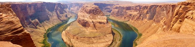 Horseshoe Bend Inspiration, Panoramic, Page, Arizona. Horseshoe Bend in afternoon, Page, Arizona stock image