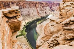 Horseshoe Bend left hand side, Glen Canyon, Page Royalty Free Stock Images