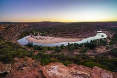 Horseshoe bend of murchison river at sunrise, kalbarri national park, western australia 1. Horseshoe bend of murchison river near natures window in kalbarri royalty free stock photography