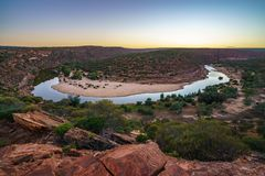 Horseshoe bend of murchison river at sunrise, kalbarri national park, western australia 3. Horseshoe bend of murchison river near natures window in kalbarri royalty free stock images