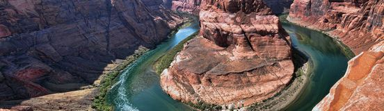 Horseshoe Bend Panorama Royalty Free Stock Photos