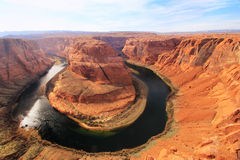Horseshoe bend seen from overlook, Arizona, USA Stock Photos