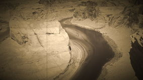 Horseshoe bend, stylised as an old vintage film, panning back and forward. stock footage
