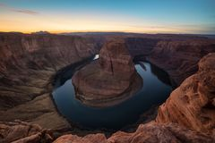 Horseshoe Bend during Sunset. This is the picture of Horseshoe Bend during sunset, Arizona Royalty Free Stock Photo