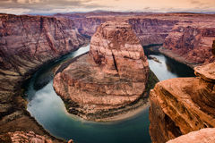 Horseshoe bend in sunset royalty free stock images