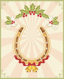 Horseshoe on christmas background Royalty Free Stock Photography