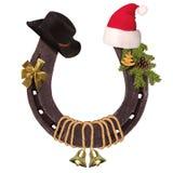 Horseshoe and Christmas elements Royalty Free Stock Photos