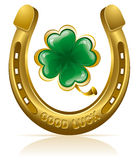 Horseshoe and clover vector illustration