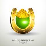 Horseshoe with earthenware for St. Patricks Day celebration. Stock Images