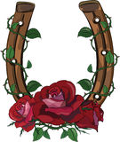 Horseshoe entwined with roses. On white, vector illustration, eps-10 Stock Photography