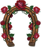 Horseshoe entwined with roses. On white, vector illustration, eps-10 Stock Images