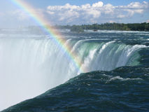 Horseshoe Falls Brink Closeup and Rainbow 1 Stock Photos