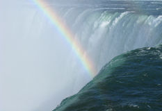 Horseshoe Falls Brink Closeup and Rainbow Stock Images