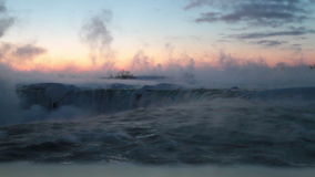 Horseshoe Falls on Cold Winter Dawn stock video