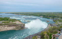 Horseshoe Falls at Niagara falls. Aerial view of the Horseshoe falls at Niagara falls royalty free stock photos