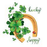 Horseshoe and four leaf clover for luck royalty free illustration