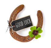 Horseshoe with a four-leafed clover. A horseshoe with a four-leafed clover stock photography