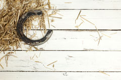 Horseshoe and hay on rustic background Stock Photo