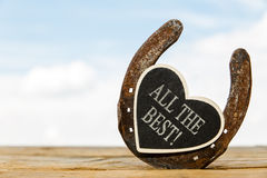 Horseshoe with heart and text Stock Photos