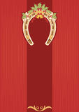 Horseshoe with holly berry on red background. Christmas card for design royalty free illustration