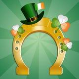 Horseshoe with Irish clovers Stock Image