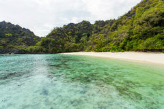Horseshoe island. Is one of a relatively unspoilt,  800 islands in Mergi Archipelago in the South of Myanmar Royalty Free Stock Photo