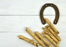 Horseshoe and letters - correspondence in the past. Royalty Free Stock Photography