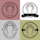 Horseshoe logos in different styles. With the inscription- your luck. Royalty Free Stock Images