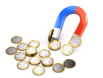 Horseshoe magnet attracts euro coins - investment concept Stock Photography