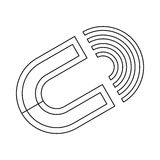 Horseshoe magnet icon, outline style. Horseshoe magnet icon in outline style isolated on white background Stock Photo
