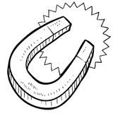 Horseshoe magnet sketch Stock Photos