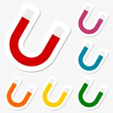 Horseshoe magnet stickers set Royalty Free Stock Images