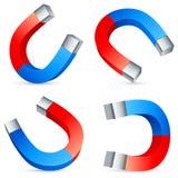 Horseshoe magnets. Set of 4 horseshoe magnets Royalty Free Stock Images