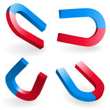 Horseshoe Magnets. Depicted By Different Angles. Vector Illustration Stock Photos