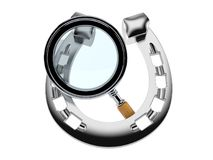 Horseshoe with magnifying glass Royalty Free Stock Photo