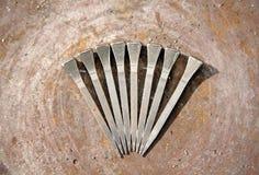Horseshoe Nails. Eight horseshoe nails on metal Stock Photography