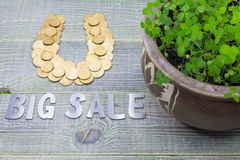 Horseshoe Of Gold Coins, Stainless Steel Inscription - Big Sale. Pot With A Growing Clover, On A Wooden Textured Gray Royalty Free Stock Images